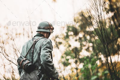 Single Re-enactor Dressed As German Wehrmacht Infantry Soldier I
