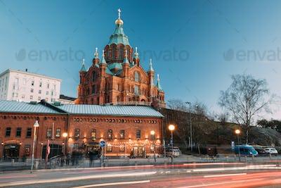 Helsinki, Finland. Uspenski Cathedral In Evening Illuminations L