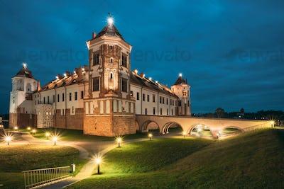 Mir, Belarus. Castle Complex Mir In Evening Or Night Illuminatio