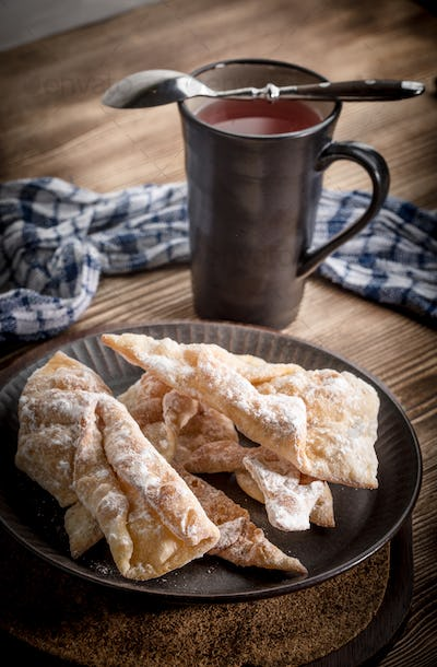 Faworki - traditional Polish crispy dessert.