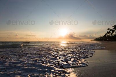 Sunrise over Atlantic ocean waves, Bavaro Beach, Dominican Republic