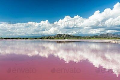 Mountains behind Pink water salt lake in Dominican Republic