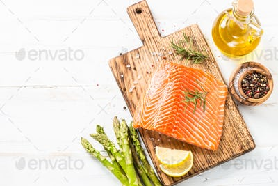 Salmon fillet with ingredients for cooking