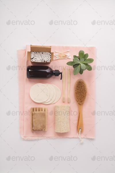 Zero waste concept. Eco-friendly bathroom accessories, flat lay