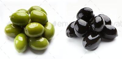 set of black and green olives