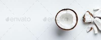 Chopped coconut on white