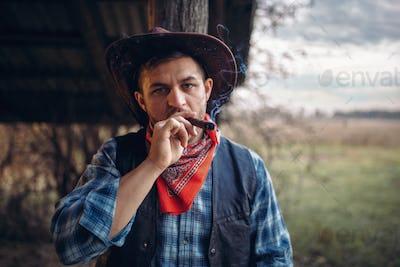 Brutal cowboy smokes a cigar, wild west culture