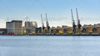 Panoramic view of houses at Royal Victoria Dock in London