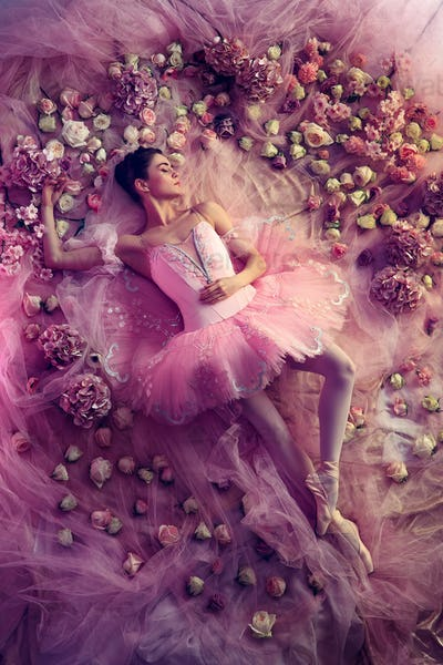 Young woman in pink ballet tutu surrounded by flowers