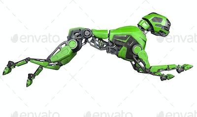 Green Robot dog runs on a white background
