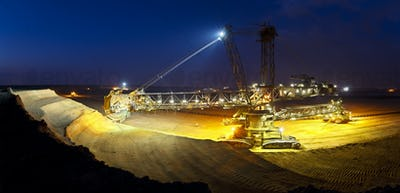 Giant Bucket-Wheel Excavator At Night Panorama