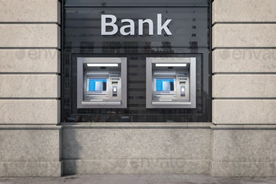 Bank ATM automatic  teller machines for money withdrawing. The s