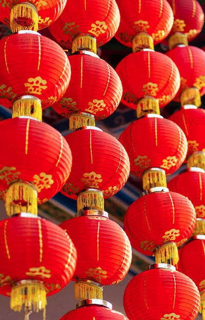 red lanterns of Buddhist temple