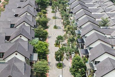 well-being suburban neighborhood, sunny summer day