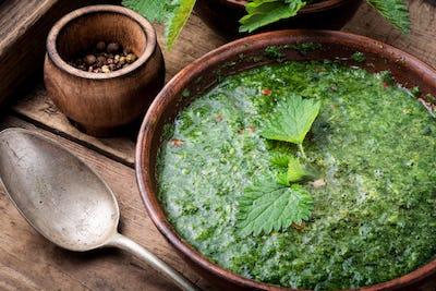 Russian traditional nettle soup
