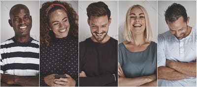 Collage of ethnically diverse young entrepreneurs laughing