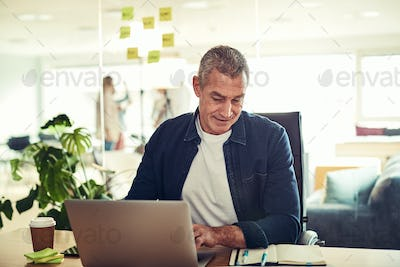Smiling mature businessman reading his schedule and using a laptop