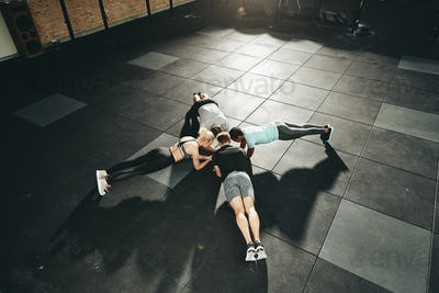 Fit people planking together on a gym floor