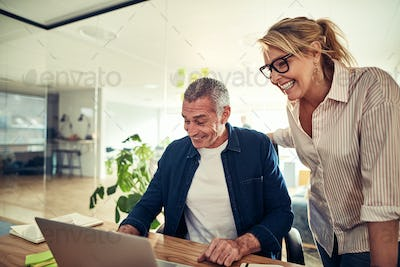 Smiling mature businesspeople working on a laptop in an office
