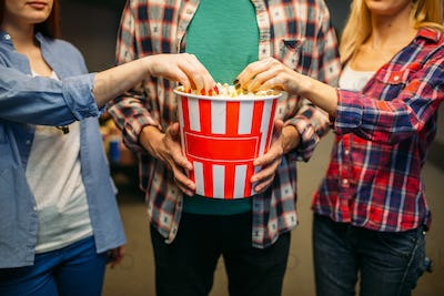 Group of friends poses with popcorn in cinema hall