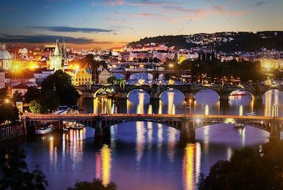 View of illuminated bridges
