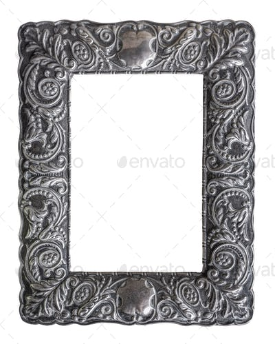 Isolated Ornate Silver Picture Frame