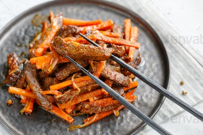 Close-up of Chinese spicy Szechuan beef