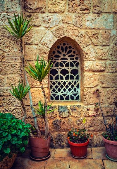 Beautiful window of ancient monastery