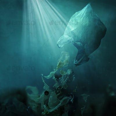 Floating plastic bag dispersing waste and polluting the ocean