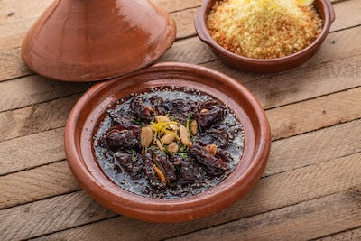 TAjine of beef with dates and almonds, copy space