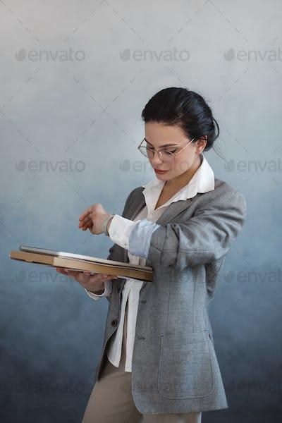 Business woman portrait. Beautiful stylish office worker