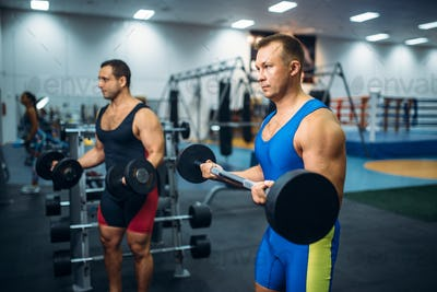 Strong male athletes works with weights in gym