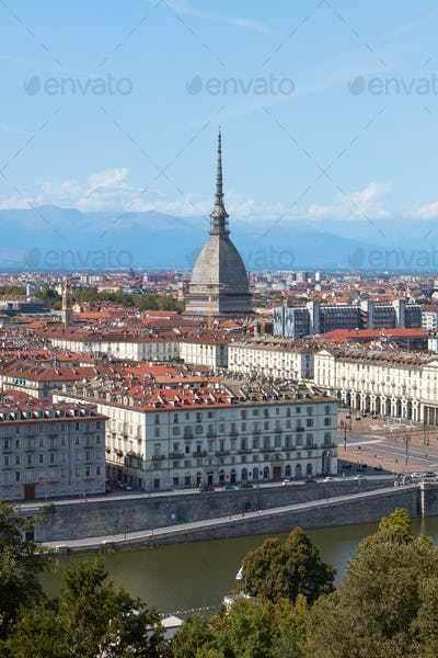 Turin view, Po river and Mole Antonelliana tower in a sunny summer day in Italy