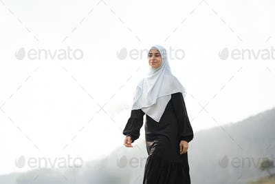 muslim arabic woman at beautiful outdoor