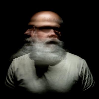 bearded man motion blur portrait