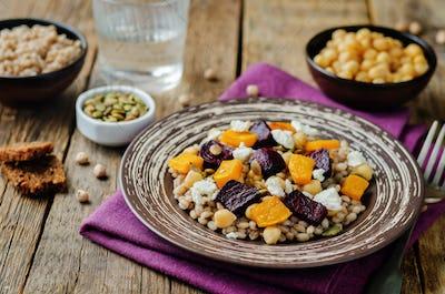 Roasted pumpkin and beet barley chickpeas pepita salad