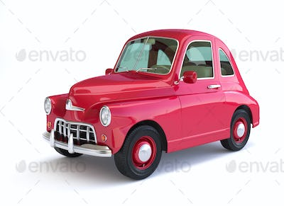 Red cartoon car on white background