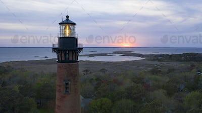 The last light fades over Whole Head Bay on the East Coast in North Carolina