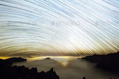 Milkyway Star Trails Above La Palma Caldera