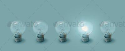 One lit bulb next to unlit bulbs