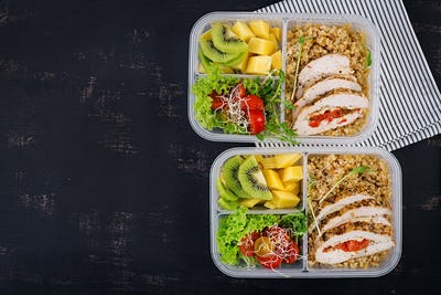 Lunch box  chicken, bulgur, microgreens, tomato  and fruit. Healthy fitness food.