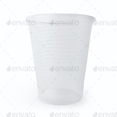 Plastic cup on white