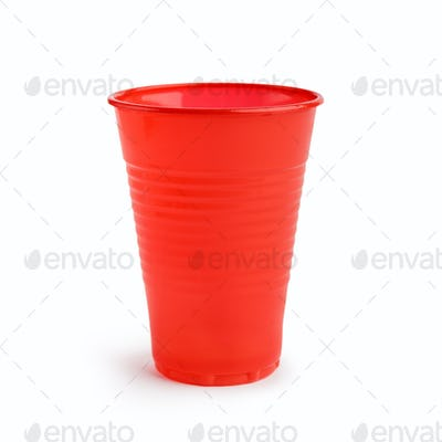 Red plastic cup on white