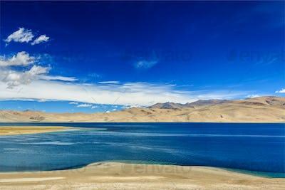 Tso Moriri lake in Himalayas, Ladakh, India