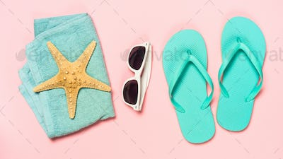 Summer travel holiday vacation background flat lay
