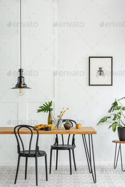 Vertical view of black and white dining room interior with green accents