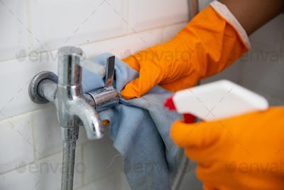 hand cleaning tap in bathroom