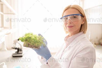Mature lady exploring seedling
