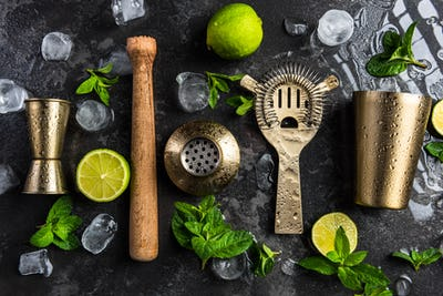 Bartender and barman tools for making cocktails and drinks