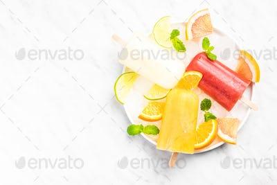 Citrus fruit juice homemade popsicles